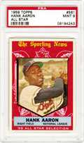 Baseball Cards:Singles (1950-1959), 1959 Topps Hank Aaron All Star #561 PSA Mint 9. This card, along with five others, share in the distinction as being the hig...