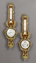 Furniture : French, A Pair of French Rococo-style Gilt Bronze and Kingwood Clock andBarometers. . Unknown maker, Paris, France. Circa 1850-1860...(Total: 2 Items)