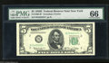 Fr. 1966-B* $5 1950E Federal Reserve Star Note. PMG Gem Uncirculated 66. Bountiful margins encircle this $5 from a serie...