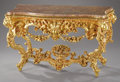 Furniture : Continental, An Important Italian Rococo-style Giltwood Console Table. Unknown maker, Florence, Italy. Circa 1800-1850. Giltwood, marbl...