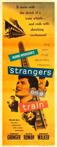 "Movie Posters:Hitchcock, Strangers on a Train (Warner Brothers, 1951). Insert (14"" X 36"")....."