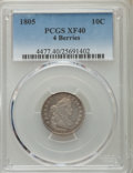 Early Dimes: , 1805 10C 4 Berries XF40 PCGS. PCGS Population (16/175). NGC Census:(1/18). Mintage: 120,780. Numismedia Wsl. Price for pro...