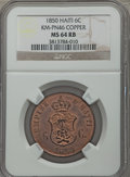 Haiti, Haiti: Faustin I copper Pattern 6 Centimes 1850 MS64 Red and BrownNGC,...