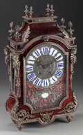 Timepieces:Clocks, An English Tortoiseshell, Silvered Metal and Porcelain Bracket Clock, mid 19th century. 22-3/4 inches high x 13-1/2 inches w...