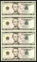 Fr. 1993-B $5 2006 Federal Reserve Notes. Uncut Sheet of Four Fr. 1993-A*; L* $5 2006 Federal Reserve Star Note