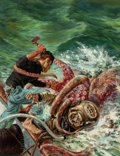 Pulp, Pulp-like, Digests, and Paperback Art, Tom Beecham (American, 1926-2000). Diving among Sea Killers,Outdoor Adventures magazine cover, April 1957. Oil on board...