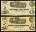 Confederate Notes:1862 Issues, T40 $100 1862, Two Examples.. ... (Total: 2 notes)