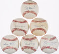 Baseball Collectibles:Balls, Baseball Greats Single Signed Baseballs Lot of 6....
