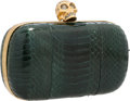 "Luxury Accessories:Accessories, Alexander McQueen Green Python Skull Clutch with Gold Hardware. 5.5"" Width x 4.5 Height x 2"" Depth. Excellent Conation..."