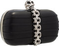 "Luxury Accessories:Accessories, Alexander McQueen Black Leather Skull Clutch with Silver Hardware. 5.5"" Width x 4.5"" Height x 2"" Depth. Excellent Cond..."