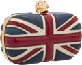 """Luxury Accessories:Accessories, Alexander McQueen Leather Red, White & Blue Union Jack Skull Clutch with Gold Tone Hardware. 5.5"""" Width x 4.5"""" Height x 2""""..."""