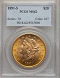 Liberty Double Eagles: , 1891-S $20 MS62 PCGS. PCGS Population (1893/931). NGC Census: (1923/556). Mintage: 1,288,125. Numismedia Wsl. Price for pro...