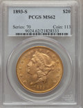 1893-S $20 MS62 PCGS. PCGS Population (1519/591). NGC Census: (1714/312). Mintage: 996,175. Numismedia Wsl. Price for pr...