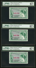 Military Payment Certificates:Series 651, Series 651 $1 Three Examples PMG Superb Gem Unc 67 EPQ.. ...(Total: 3 notes)