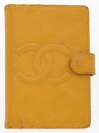 "Chanel Yellow Caviar Leather Mini Agenda Cover Good Condition 3"" Width x 5"" Height x .5"" Depth"