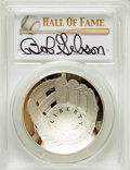 Baseball Collectibles:Others, 2014 Bob Gibson Signed Baseball Hall of Fame Silver Dollar PCGSPR70DCAM Coin. ...