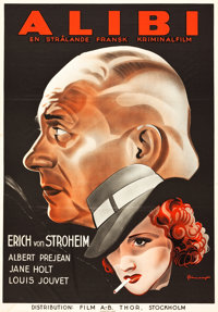 "The Alibi (Film A-B Thor, 1937). Swedish One Sheet (27.5"" X 39.5"")"