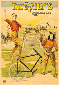 """The Raily's Cycling Act Belgian Advertising Poster (Affiches Marci Bruxelles, c.1900). Poster (32.25"""" X 45"""")..."""