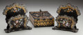 Paintings, Three Victorian Ebonized Wood, Mother-of-Pearl and Polychrome Desk Items, circa 1880. 4 inches high x 9-1/2 inches wide x 6-... (Total: 3 Items)