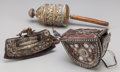 Asian:Other, Three Tibetan & Mongolian Articles. 11 inches long (27.9 cm)(prayer wheel). ... (Total: 3 Items)