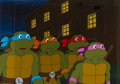 Animation Art:Production Cel, Teenage Mutant Ninja Turtles Turtles Production Cel andPainted Key Master Background Setup (Murakami-Wolf-Swenson, 19...