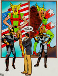 Original Comic Art:Miscellaneous, Hawkworld #10 Cover Hand-Colored Production Art (DC,1991)....