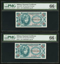 Military Payment Certificates:Series 651, Series 651 25¢ Two Examples PMG Gem Uncirculated 66 EPQ.. ...(Total: 2 notes)