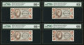 Military Payment Certificates:Series 651, Series 651 50¢ Four Examples PMG Graded.. ... (Total: 4 notes)