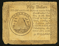 Continental Currency September 26, 1778 $50 Very Good
