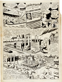 """Shuster Studio - Unpublished """"Riddle of the Iron Zoo"""" Page 2 Perry White, Clark Kent, and Lois Lane Original A..."""