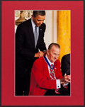 Baseball Collectibles:Photos, Stan Musial and Barack Obama Unsigned Oversized Photograph....
