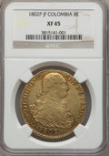 Colombia, Colombia: Carlos IV gold 8 Escudos 1802 P-JF XF45 NGC,...