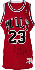 Basketball Collectibles:Uniforms, 1989-90 Michael Jordan Game Worn & Signed Chicago Bulls Jersey,MEARS A10....