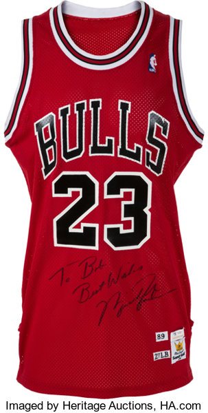 hot sales 52c38 f153a 1989-90 Michael Jordan Game Worn & Signed Chicago Bulls ...