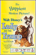 "Movie Posters:Animation, Lady and the Tramp (Buena Vista, R-1962). One Sheet (27"" X 41""). Animation.. ..."