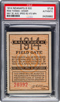 Baseball Cards:Singles (1930-1939), 1914 Indianapolis 500 Gate Ticket, PSA Authentic....