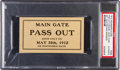 Miscellaneous Collectibles:General, 1912 Indianapolis 500 Pass Out Ticket, PSA Authentic....