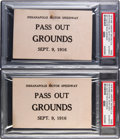 Miscellaneous Collectibles:General, 1916 Harvest Race Indianapolis Motor Speedway Pass Out GroundsTickets Lot of 2, PSA Authentic....