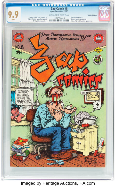 Zap Comix #8 Haight-Ashbury pedigree (Print Mint, 1975) CGC MT 9.9 Off-white to white pages....
