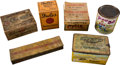 Baseball Cards:Unopened Packs/Display Boxes, 19th and 20th Century Tobacco Boxes and Canister Group (6) - WithCycle and Plow Boy Tobacco. ...