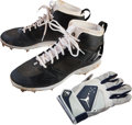 Baseball Collectibles:Others, 2014 Derek Jeter Game Used Cleats & Batting Glove. ...