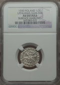 Lithuania, Lithuania: Sigismund August 1/2 Groschen 1550 AU Details (SurfaceHairlines) NGC,...
