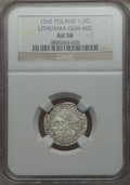 Lithuania, Lithuania: Sigismund August 1/2 Groschen 1562 AU58 NGC,...