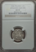 Lithuania, Lithuania: Sigismund August 1/2 Groschen 1546 AU55 NGC,...
