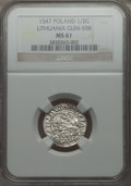 Lithuania, Lithuania: Sigismund August 1/2 Groschen 1547 MS61 NGC,...