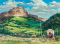 Mainstream Illustration, John Conrad Berkey (American, 1932-2008). Wyoming-TelegraphRoad, 1991. Casein and acrylic canvasboard. 16.25 x 22 in. (...