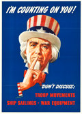 "Movie Posters:War, World War II Lot (U.S. Government Printing Office, 1943). OWIPoster #18 (20"" X 28"") ""I'm Counting on You!"". ..."