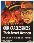 "Movie Posters:War, World War II Propaganda Poster (U.S. Department of Agriculture,1943). Poster (22"" X 28""). ""Our Carelessness -- Their Secret..."