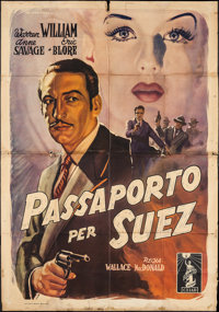 "Passport to Suez (Columbia, 1947). First Post War Release Italian 4 - Foglio (55"" X 77.75""). Crime"