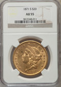 Liberty Double Eagles: , 1871-S $20 AU55 NGC. NGC Census: (360/567). PCGS Population (117/158). Mintage: 928,000. Numismedia Wsl. Price for problem ...